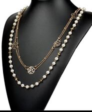 Necklace imitation Pearl Long Multi layer Necklace Gold toned flower designs