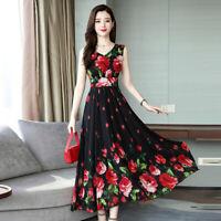 2019 Women Boho Floral Long Dress Evening Party Summer Casual Beach Dresses NEW