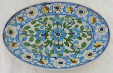 ANTIQUE PLATE/TRAY CHINESE,PERSIAN OR FRENCH BLUE FLOWERS HAND PAINTED