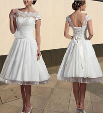New White/Ivory High Neck Short Puffy Wedding Dress/Gown Size 6-8-10-12-14 -16++