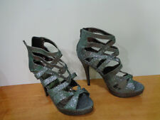 Beautiful Charlotte Russe Silver Color Open Toe Womens High Heel Shoes sz US 9