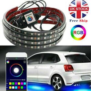 Phone App Control Under Car Tube Strip RGB LED Underglow body Neon Light Kit UK