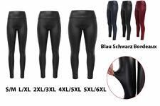 Damen Leggings Leggins WetLook Leder Optik Gr. S M L XL XXL 3XL 4XL 5XL 6XL NEU