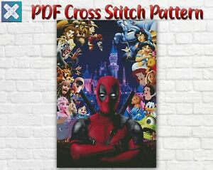 Disney Characters Mickey Mouse Deadpool Counted PDF Cross Stitch Pattern DMC DIY