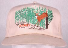 Vtg Garst Hat-Seed-Buck Deer Jump Fence-Corn Row-Brown-Snapback-Metal Eyelets-