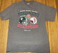 Men's NCAA 2014 Rose Bowl Gray T Shirt Stanford V. Michigan State Size Large L