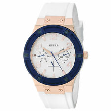 Guess U0564L1 Women's White Dial White Silicone Band Crystal Watch