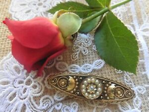 Antique Victorian 15ct Diamond And Pearl Brooch