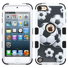 iPod Touch 5th / 6th Gen - SOCCER BALL Armor Impact Hybrid Hard&Soft Rubber Case