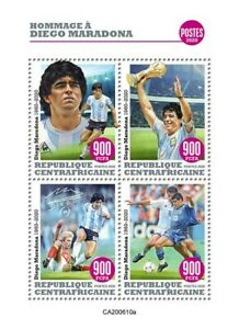 Central African Rep Football Stamps 2020 MNH Diego Maradona People Sports 4v M/S