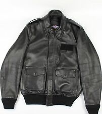 Gibson Barnes Skyliner American Airlines Jacket Black Leather Bomber sz 40R GUC