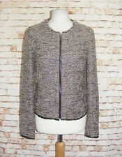size 10 Next bouclé winter jacket collarless fitted longsleeve sparkly brown mix