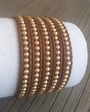 New Auth Chan Luu Gold Pearl Five Wrap Bracelet on Gold Leather