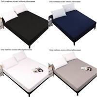 Waterproof Mattress Protector Bed Cover Sheet Bedroom Pure Color Twin Queen