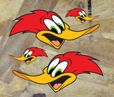 Happy Woodpecker Sticker Decal Woody Hot Rod Bumper sticker pack of 4