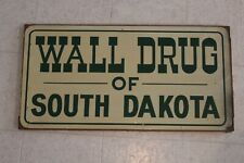 Vintage 50s / 60s Wall Drug of South Dakota tin metal backside framed store sign