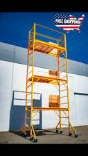 18Ft Baker Perry Style Scaffold W/Guard Rail &Outriggers W/ Climb Thru Platforms