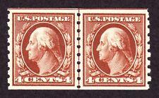 US 395 4c Washington Mint Line Pair XF OG H SCV $475