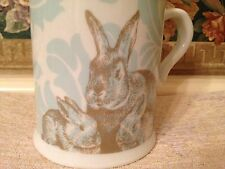 Blue White Damask Bunny Rabbits Mama and baby Easter Spring Coffee Mug Cup NEW