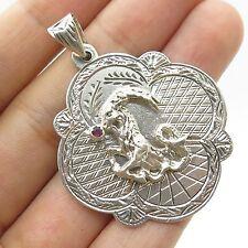Siam Vtg 925 Sterling Silver Real Red Garden Gemstone Zodiac Capricorn Pendant