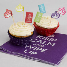 ** 20 KEEP CALM & PARTY ON CUPCAKE PICKS ADULT BIRTHDAY PARTY CAKE DECORATION