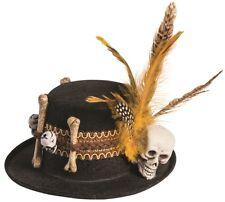 Voodoo Mini Top Hat Skull & Bones Feathers Halloween Women's Costume Accessory