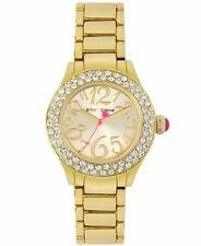 Betsey Johnson Gold Tone Crystal Bezel Gold Dial Bling Watch BJ00191-02