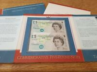 Limited Edition Royal Celebration Uncut Pair £5 Banknotes in Presentation Folder