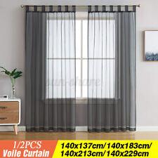 Voile Window Curtain 10cm Long Tab Top Solid Sheer Panel Living Room Bedroom