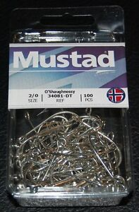 100 Mustad 34081-DT Size 2/0 Saltwater Big Game O'Shaughnessy Hooks 34081D-20