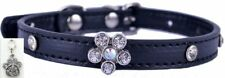 Black Bling Pet Collar - Flower Rhinestones - Small FREE Charm included! dog cat