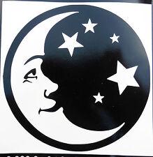 Sonrisa Feliz Luna Estrellas stickers/car/van / bumper/window/decal 5196 Negro