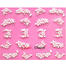 3D Nail Stickers -  White Flowers - With Tiny Clear Rhinestones - New - F-3