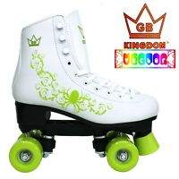 Kingdom GB Vector Girls & Women's Retro Quad Roller Skates White & Green
