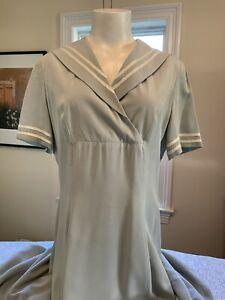 Laura Ashley 100% silk A-line sailor collar vintage dress sz.10 EUC maxi
