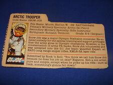 Snow Job   File Card  GI Joe  1983