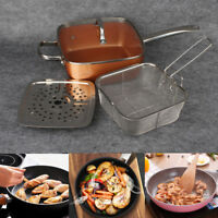 Set 4 Piece Copper Square Pan Induction For Chef Glass Lid Fry Basket Steam Rack