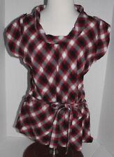 Confess Women's Shirt Size Large Sleeveless Black Red & White Plaid Cowl Neck
