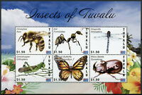 Tuvalu Insects Stamps 2020 MNH Honey Bees Butterflies Beetles Dragonfly 6v M/S