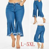 Casual Plus Size Women Denim Jeans Trousers Flare Wide Leg Tassel Ruffle Pants