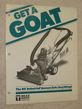 1980s BILLY GOAT BG-50A,-60AIC,-60PIC INDSTRL.VACUUM CLEANER SPEC SHEET BROCHURE
