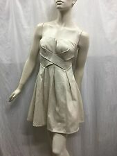 Dotti Size 8 Fits Size 6 Strapless Silvery Cream Party Dress