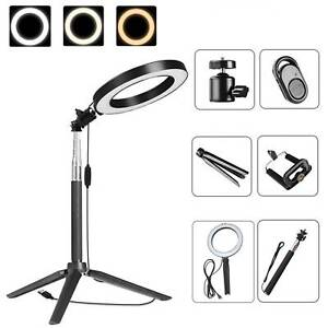 Studio LED Ring Light Stand Dimmable LED Lighting Makeup Live Lamp for Camera