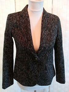 Ann Taylor Loft Womens Sz 0P Black White Tweed Lined 1 Btn Single Br Suit Jacket