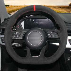 For Audi S3 2016-2017 car hand-sewn steering wheel cover black suede leather