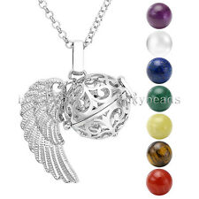 Hollow Angel Wing Locket Pendant + 7 Natural Chakra Gems Beads Necklace Set Gift