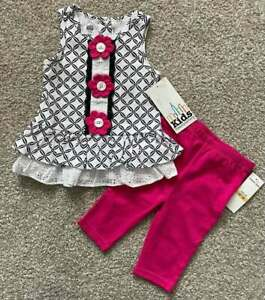 NWT Kids Headquarters Infant Baby Girl 2-Piece Outfit Flowers Buttons 12m