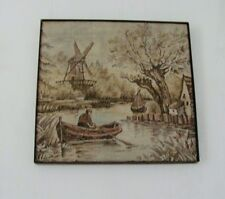"""Vintage Dutch Landscape Tapestry from UK stretched and ready to be hung, 15""""x16"""""""