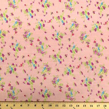 Finch Pink Print Fabric Cotton Polyester Broadcloth By The Yard 60""