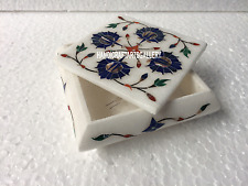 "4""x4""x2"" White Marble alluring Marquetry Jewelry Box Home Gift new year  H3519"